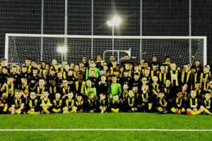 Cambuslang Colts FC team photo in front of goal posts