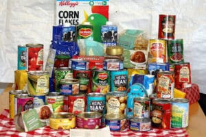 Pile of tins and packets of food at Slough Foodbank